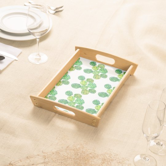 Green monstera jungle tray serving trays