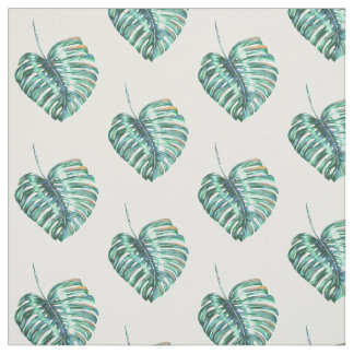 Green monstera leaf tropical exotic foliage fabric