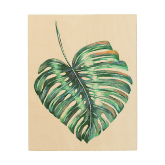 Green monstera leaf tropical exotic foliage wood print