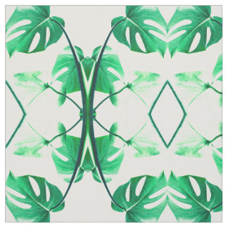 Green monstera leaves tropical palm exotic fabric