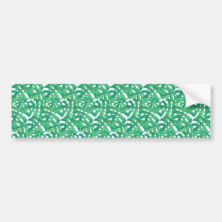 Green monstera tropical leaves pattern  on white b bumper sticker