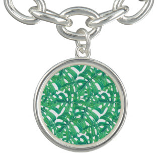 Green monstera tropical leaves pattern  on white b charm bracelet