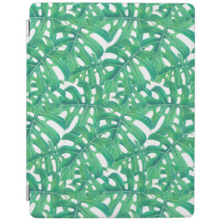 Green monstera tropical leaves pattern  on white b iPad cover