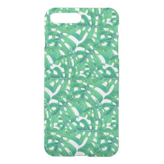 Green monstera tropical leaves pattern  on white b iPhone 7 plus case