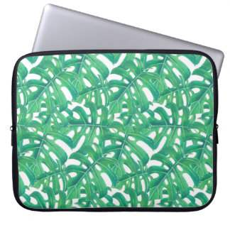 Green monstera tropical leaves pattern  on white b laptop sleeve