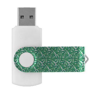 Green monstera tropical leaves pattern  on white b USB flash drive