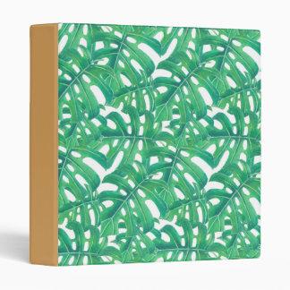 Green monstera tropical leaves pattern vinyl binders