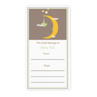 Green Moon and Stars Bookplate