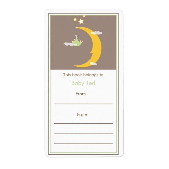Green Moon and Stars Bookplate Shipping Label