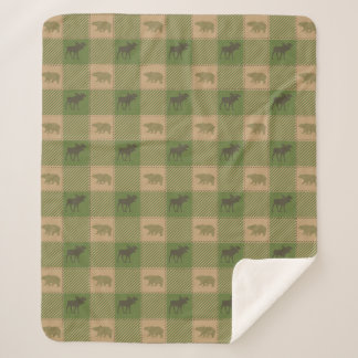 Green Moose Bear Pattern Cabin Sherpa Blanket