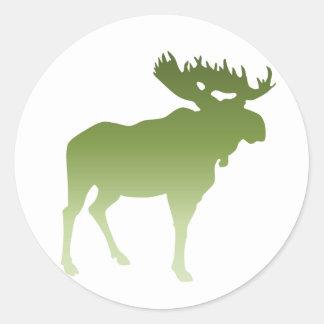 Green Moose Round Sticker