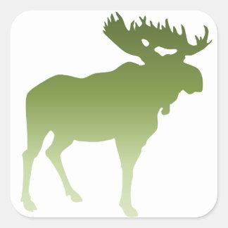 Green Moose Square Sticker