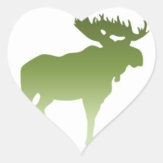 Green Moose Heart Sticker