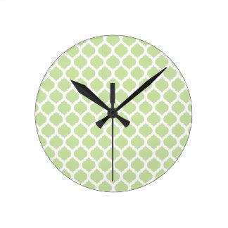 Green Moroccan Pattern Wall Clocks
