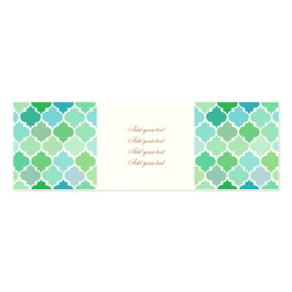 green, moroccan,quatrefoil,pattern,chic,girly,fun, pack of skinny business cards