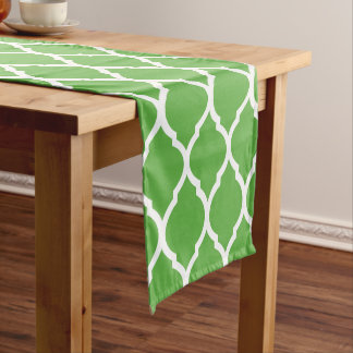 Green Moroccan Quatrefoil Short Table Runner