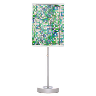 Green Mosaic Cat Table Lamp