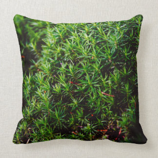 Green Moss Closeup Photograph Throw Pillow