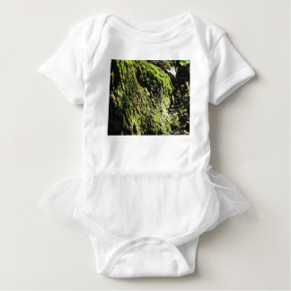 Green moss in nature  Detail of moss covered trunk Baby Bodysuit