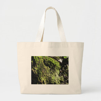 Green moss in nature  Detail of moss covered trunk Large Tote Bag