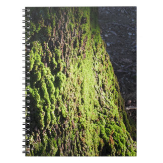 Green moss in nature  Detail of moss covered trunk Spiral Notebook