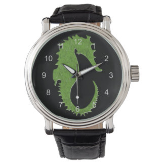 Green Moss Seahorse Wristwatches