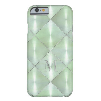 Green Mother of Pearl with Silver Monogram Barely There iPhone 6 Case
