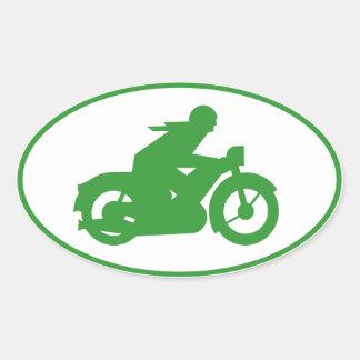 Green Motorbiker Sign Oval Sticker