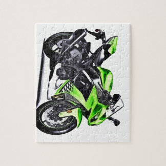 Green motorcycle jigsaw puzzle