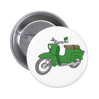 """Green Motorscooter """"Schwalbe"""" 2 Inch Round Button"""