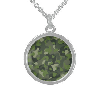 Green mountain disruptive camouflage sterling silver necklace