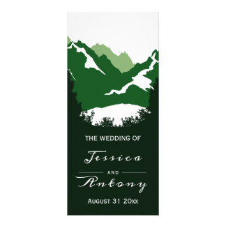 Green mountains and conifer trees wedding program