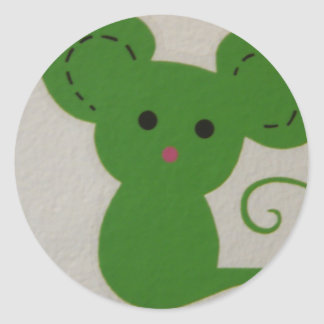 green mouse round sticker