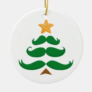 Green Moustache Tree Ceramic Ornament