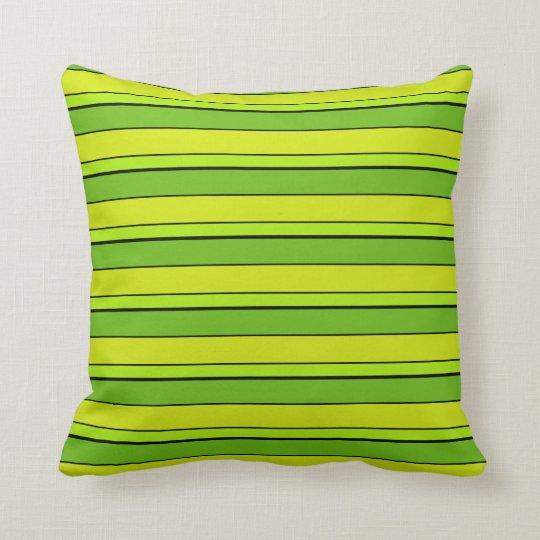 Green Multi Tone Striped Throw Pillow