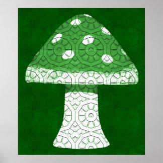 Green Mushroom Print
