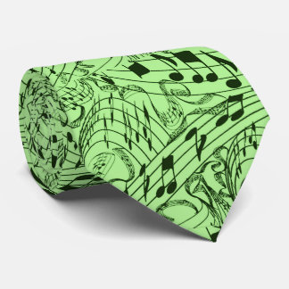 GREEN MUSIC NOTES TIE