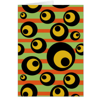 Green Mustard Yellow Orange Stripes Geometric Card
