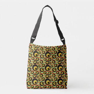Green Mustard Yellow Orange Stripes Geometric Crossbody Bag