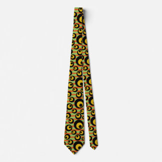 Green Mustard Yellow Orange Stripes Geometric Tie