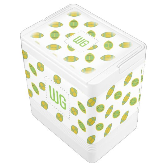Green N Gold Footballs Monogram Igloo Drink Cooler