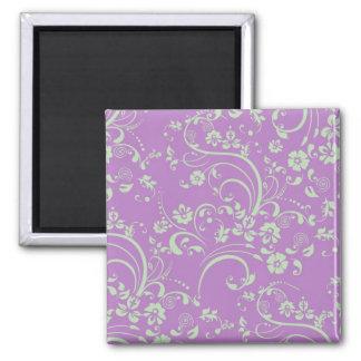 Green-n-Purple Floral Swirl Magnet