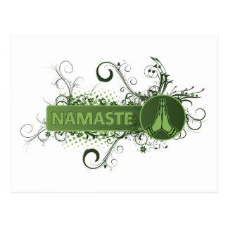 Green Namaste English Postcard