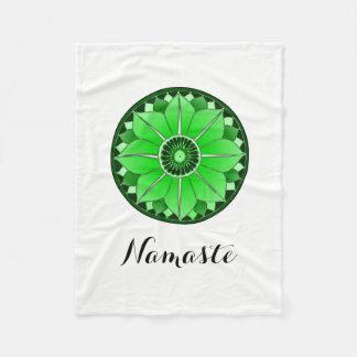 Green NAMASTE Flower Spiritual Lotus Mandala Fleece Blanket