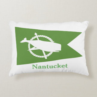 Green Nantucket Whale Flag Pillow