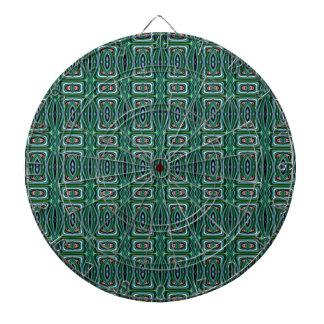 Green Native American Fabric Design. Aztec Pattern Dartboard With Darts