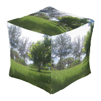 Green Nature Park Picture Design Large Cube Pouf