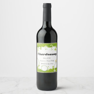 Green Nature personalized wine bottle label