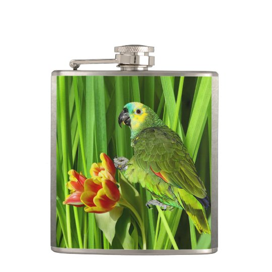 Green Nature With Parrot Flask