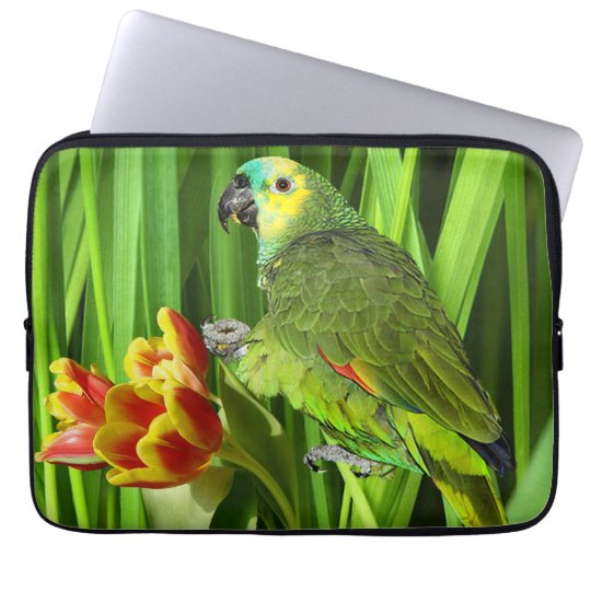 Green Nature With Parrot Laptop Sleeve